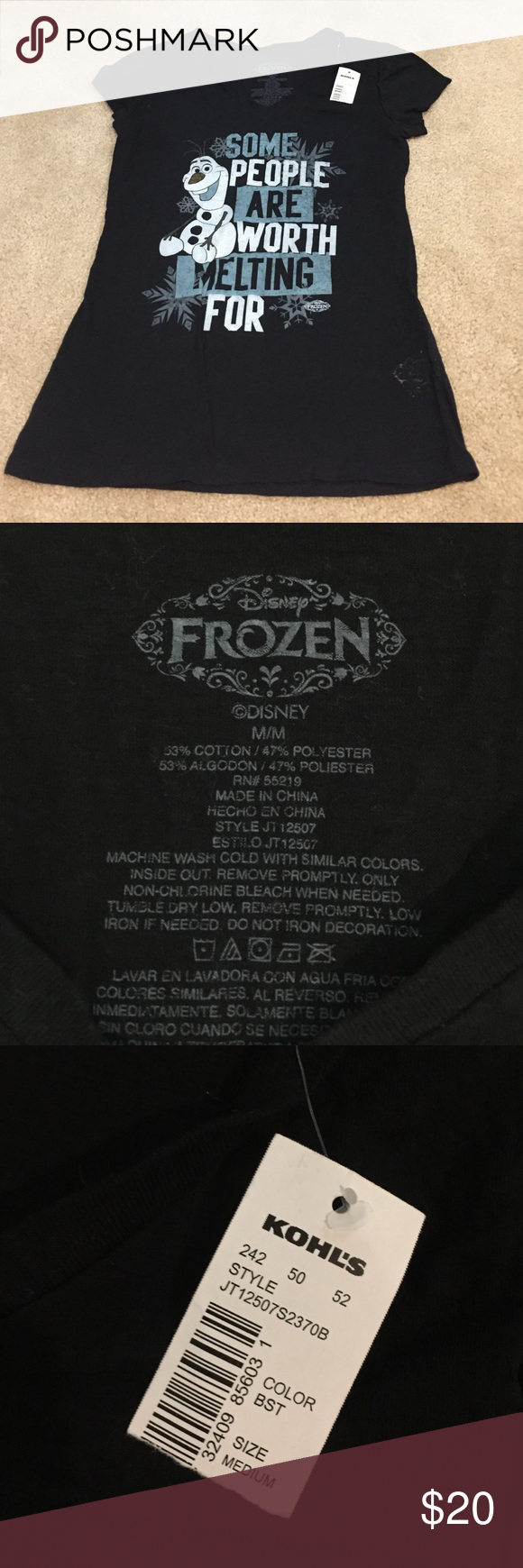 Black t shirts kohls - Frozen T Shirt Brand New Disney Kohl S Frozen T Shirt With Olaf Disney