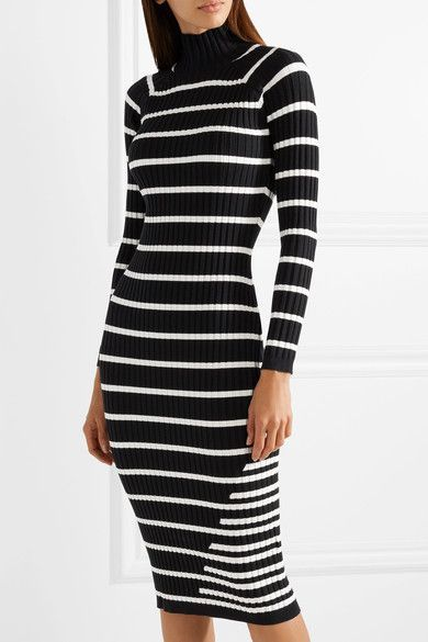 42ee03e586c1 T by Alexander Wang - Striped Ribbed Stretch-knit Turtleneck Midi Dress -  Black