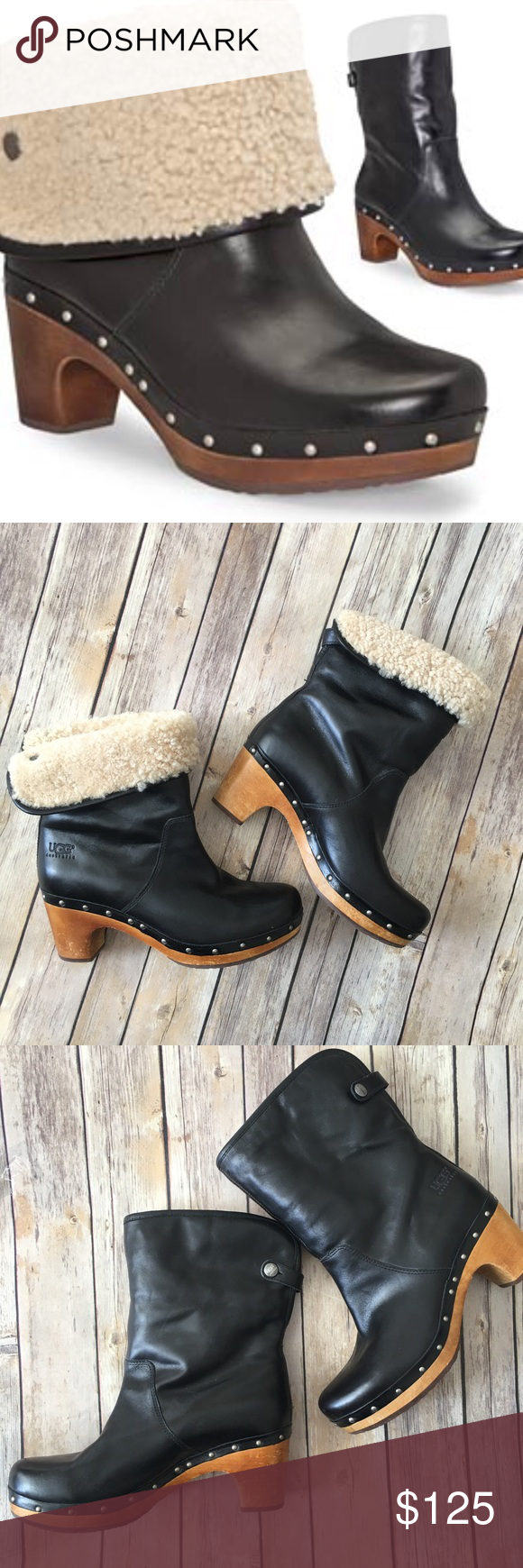Ugg Boots Lynnea Shearling Studded Leather Wood Size 8. Very good used condition with only a few scruffs from minimal wear. There is a large black marker spot on the left bottom of the shoe. UGG Shoes Ankle Boots & Booties