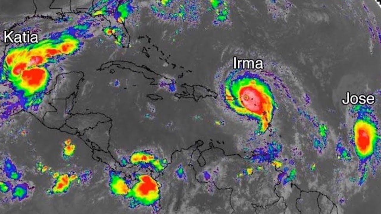 Triple Hurricane Threat Rare Phenomenon Hurricane Irma Hurricane Jose Hurricane Katia Youtube Leeward Islands Northern Florida Irma