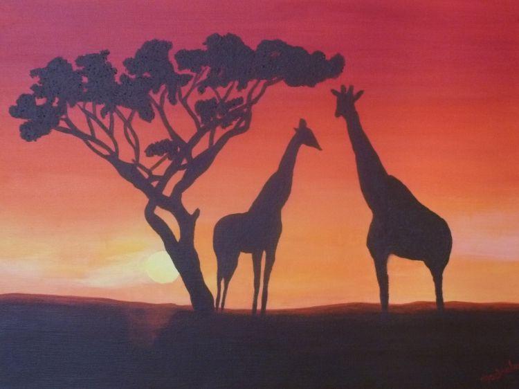 Tableau peinture coucher de soleil girafes plaine - Dessin paysage africain ...