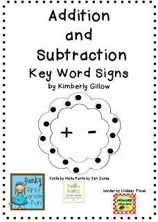Funky First Grade Fun: Addition/Subtraction Key Words ...