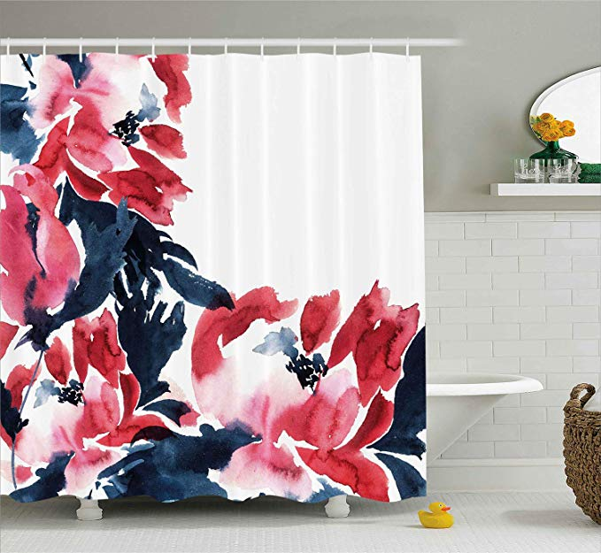 Amazon Com Ambesonne Floral Shower Curtain Flowers In Watercolor