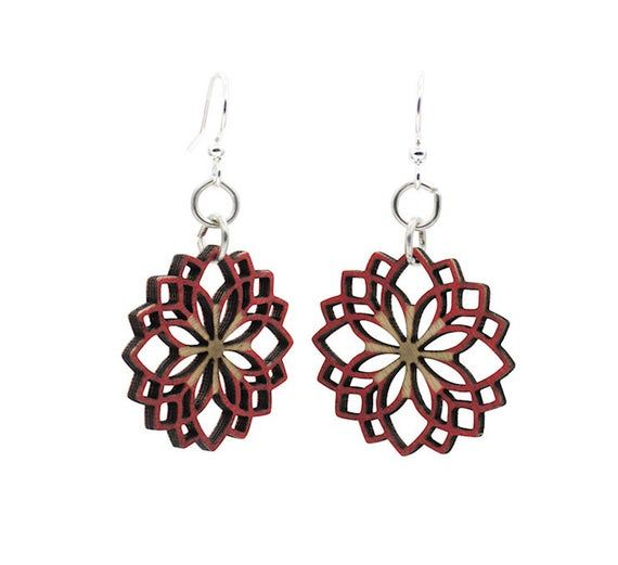 Made In U.S.ADahlia Flower Blossom Earrings0.9 x 0.9Made from sustainably sourced wood and 90% recycled display cards.Ear wires are silver-finished 304L stainless steel, hypoallergenic, and enhanced with a new, smooth and consistent electrophoretic coating that resists tarnishing.All blossoms earring sizes are less than a square inch in sizeEarrings come as shown
