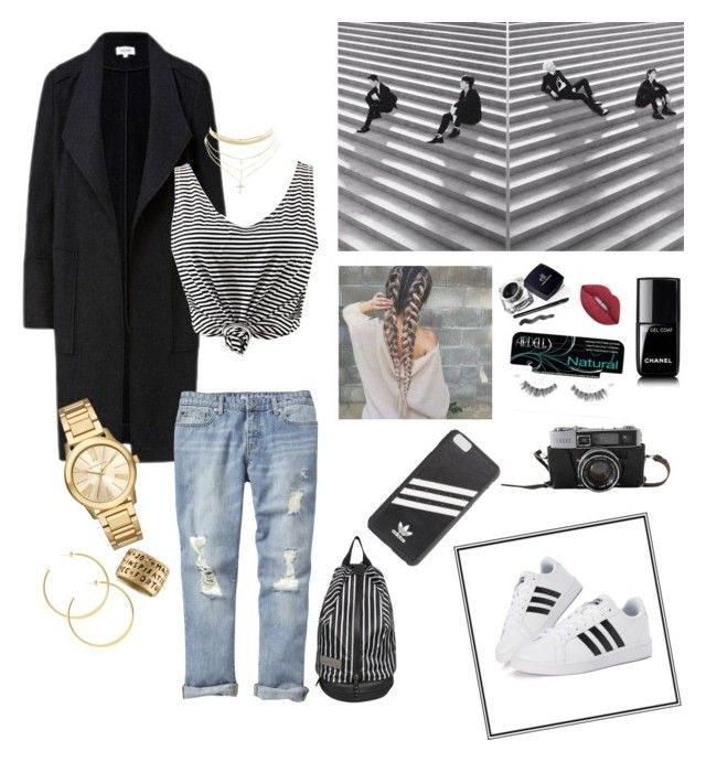 """stripes"" by al355a on Polyvore featuring adidas, WithChic, Gap, Charlotte Russe, Chanel, adidas Originals, Michael Kors, Rachel Rachel Roy, Ardell and Lime Crime"