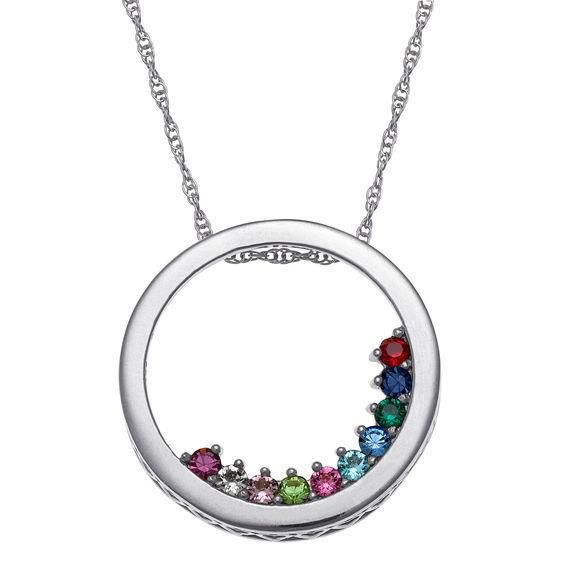 Zales Mothers Simulated Birthstone Circle Slider Pendant in Sterling Silver (1-10 Stones) Db29PBEc