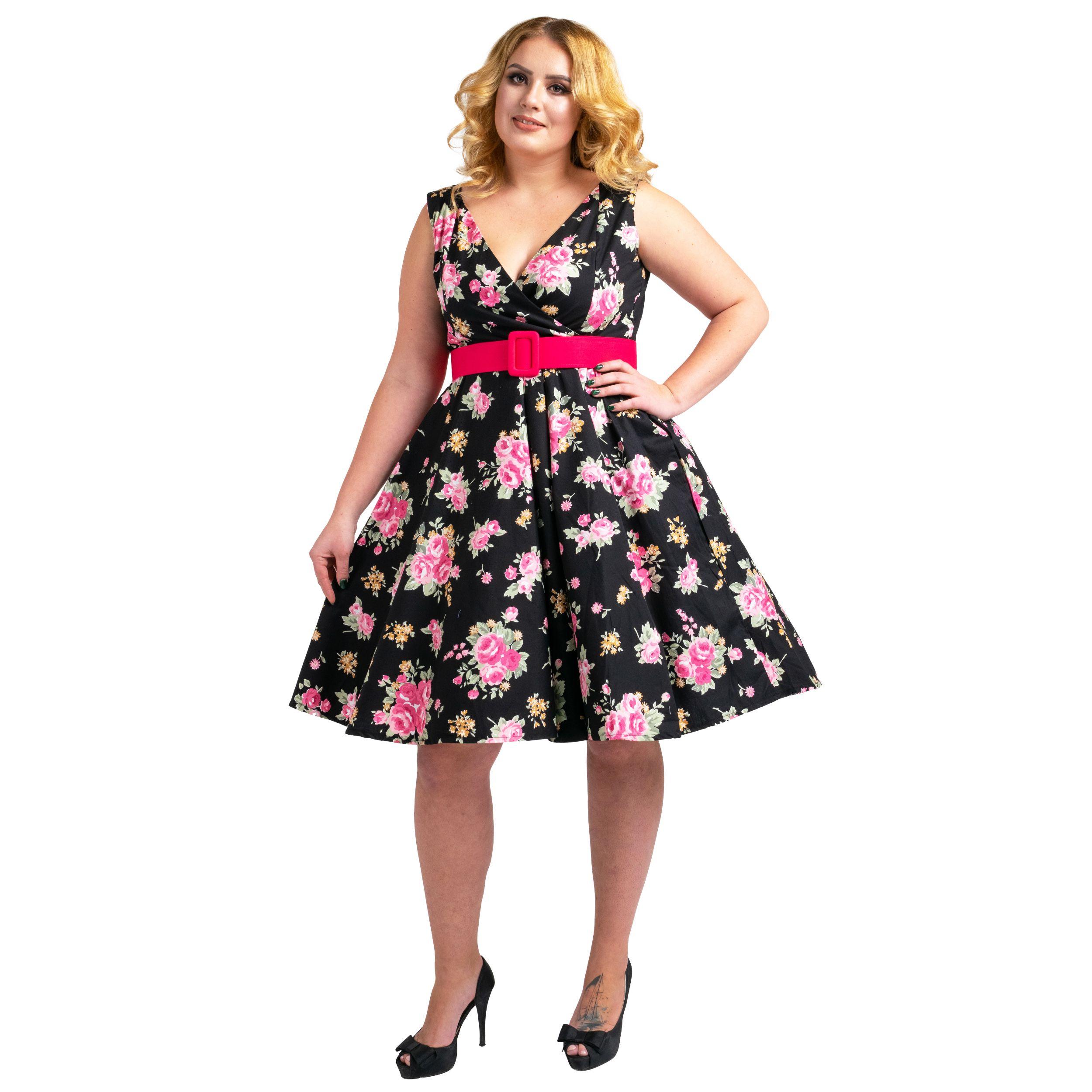 Floral Bridesmaid Dresses 1940s Rockabilly Plus Size