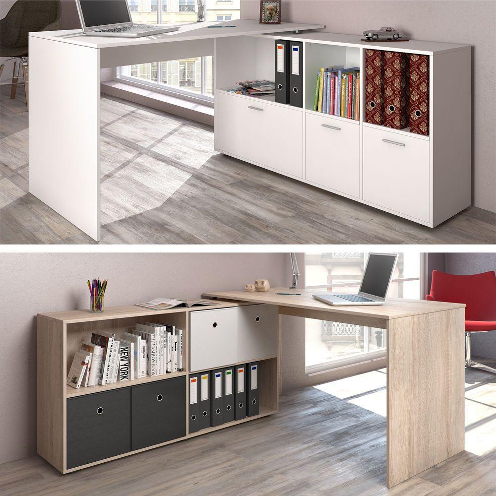 Fmd Schreibtisch Winkelkombination Calvi Grau Grau Weiss Brillant Weiss Office Buro Homeoff Eckschreibtisch Schreibtisch Winkelkombination Tisch