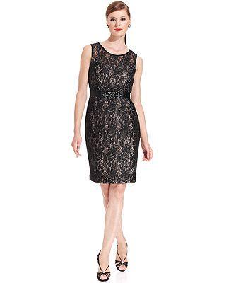 Jessica Howard Beaded Lace Sheath and Jacket - Dresses - Women - Macy's