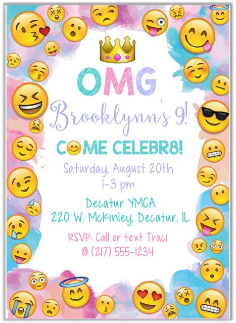 Emoji Birthday Party Invitations Kids Birthday Spruhaa