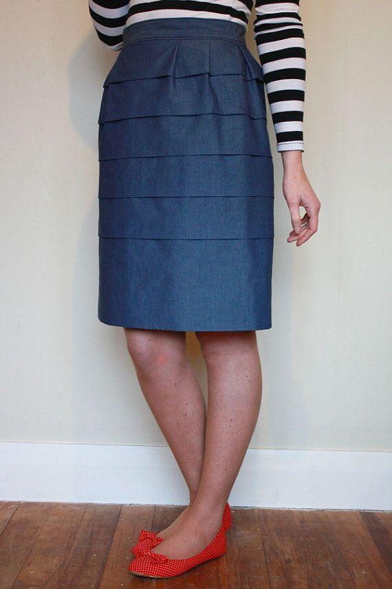 Damen Plissee Kleid und Rock PDF-Schnittmuster. Multi-Größe 6 bis 20 ...