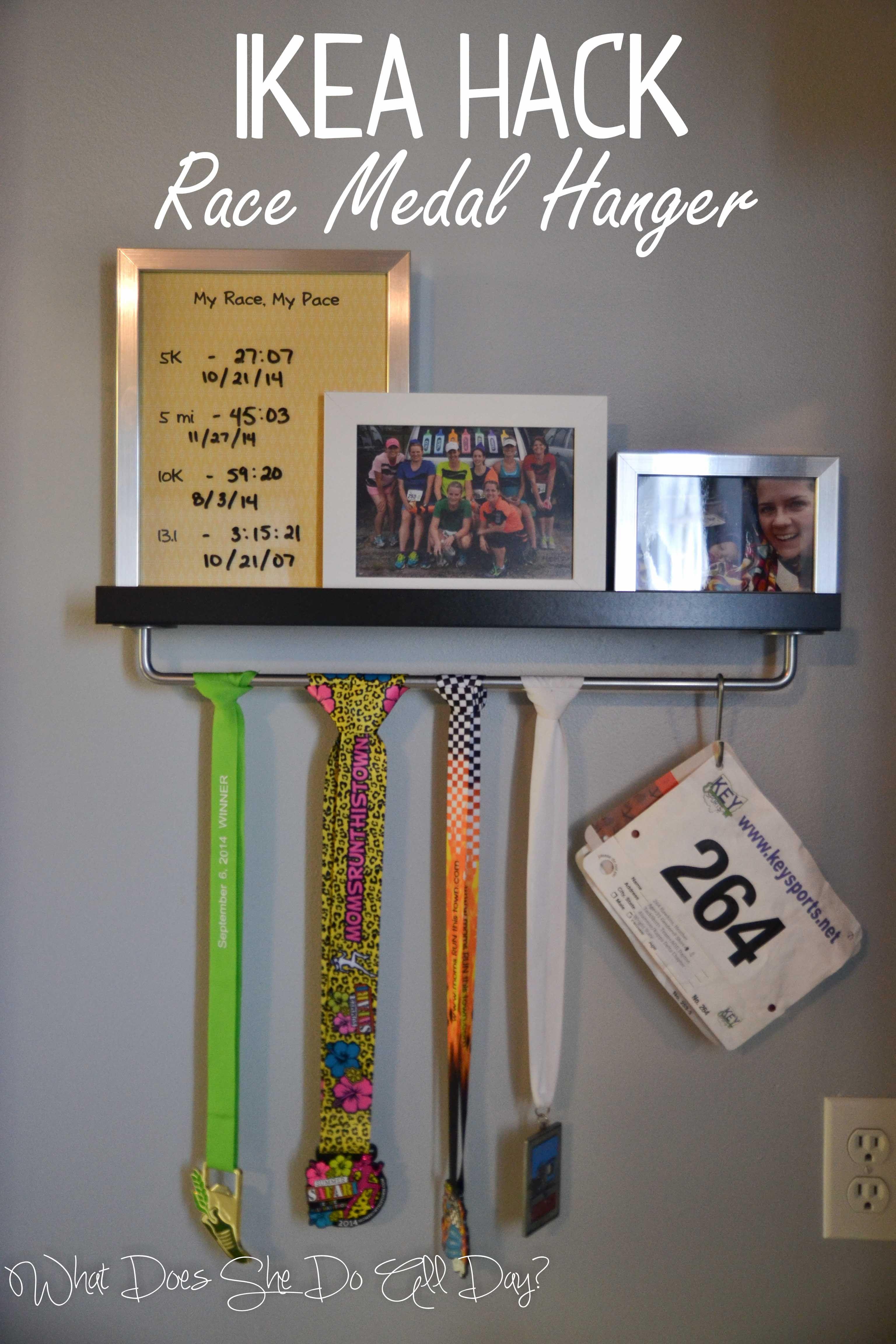 IKEA Hack: Race Medal Hanger and Shelf #ikea #running #racing More