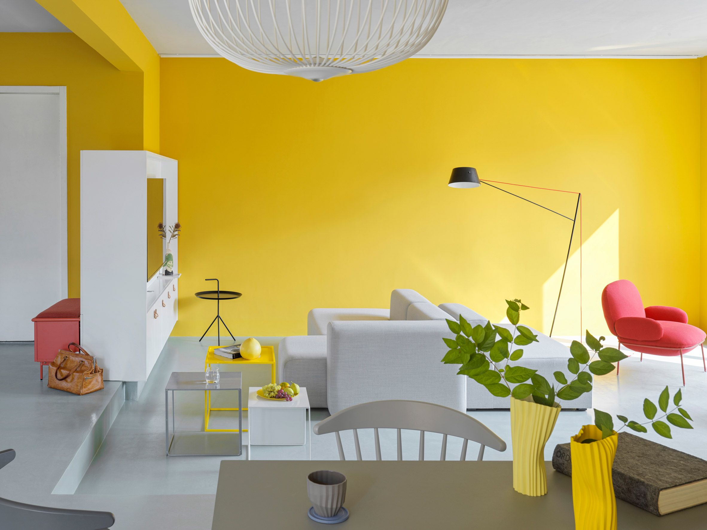 Mddm Studio Uses Yellow To Energise Interiors Of Beijing S House P In 2020 Yellow Decor Living Room Apartment Living Room White Home Decor