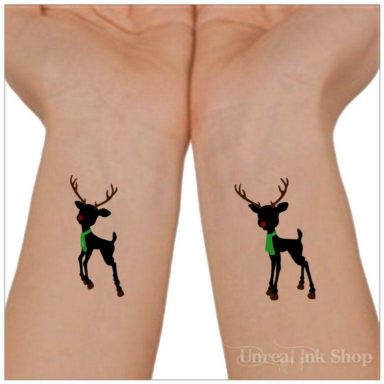 temporary tattoo christmas reindeer 2 wrist tattoos stocking stuffers by unrealinkshop on etsy https - Christmas Reindeer 2