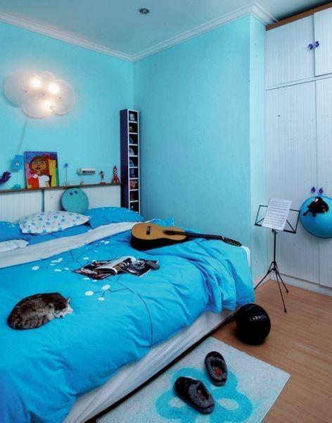 Rumah   Kamar tidur nyaman, Kamar tidur bernuansa biru ...