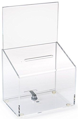 Set Of 2, Locking Clear Acrylic Drop Box, 8-3 4 X 14-Inch, For - employee suggestion forms