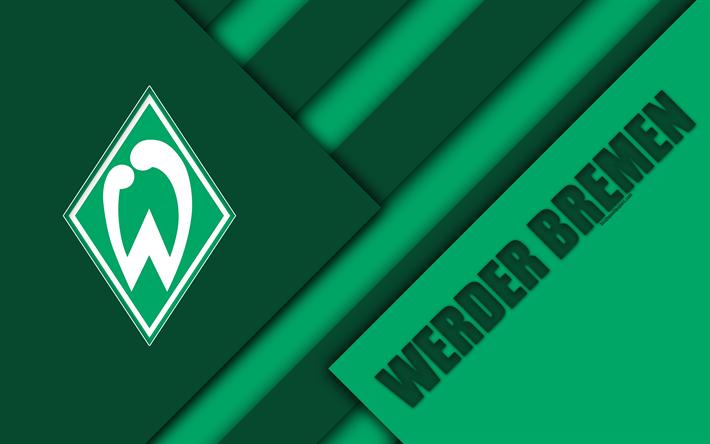Download Wallpapers Sv Werder Bremen 4k Material Design Werder Emblem German Football Club Logo Bundesliga White Green Abstraction Bremen Germany Besth Custom Soccer Logos Soccer Flags