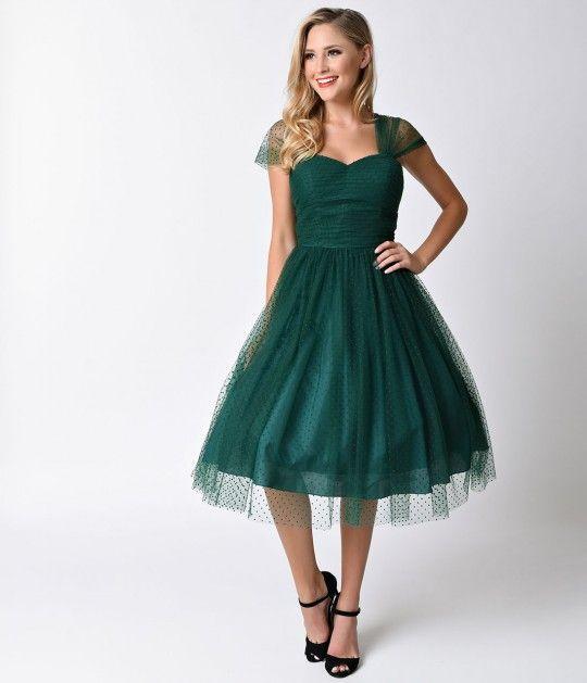 Unique Vintage Emerald Green Swiss Dot Garden State Mesh Dress Vintage Bridesmaid Dresses Vintage Homecoming Dresses Emerald Bridesmaid Dresses