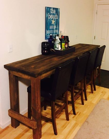 Ft Long Bar Table Chairs DIY HandBuilt Furniture Pinterest - Long bar table with stools