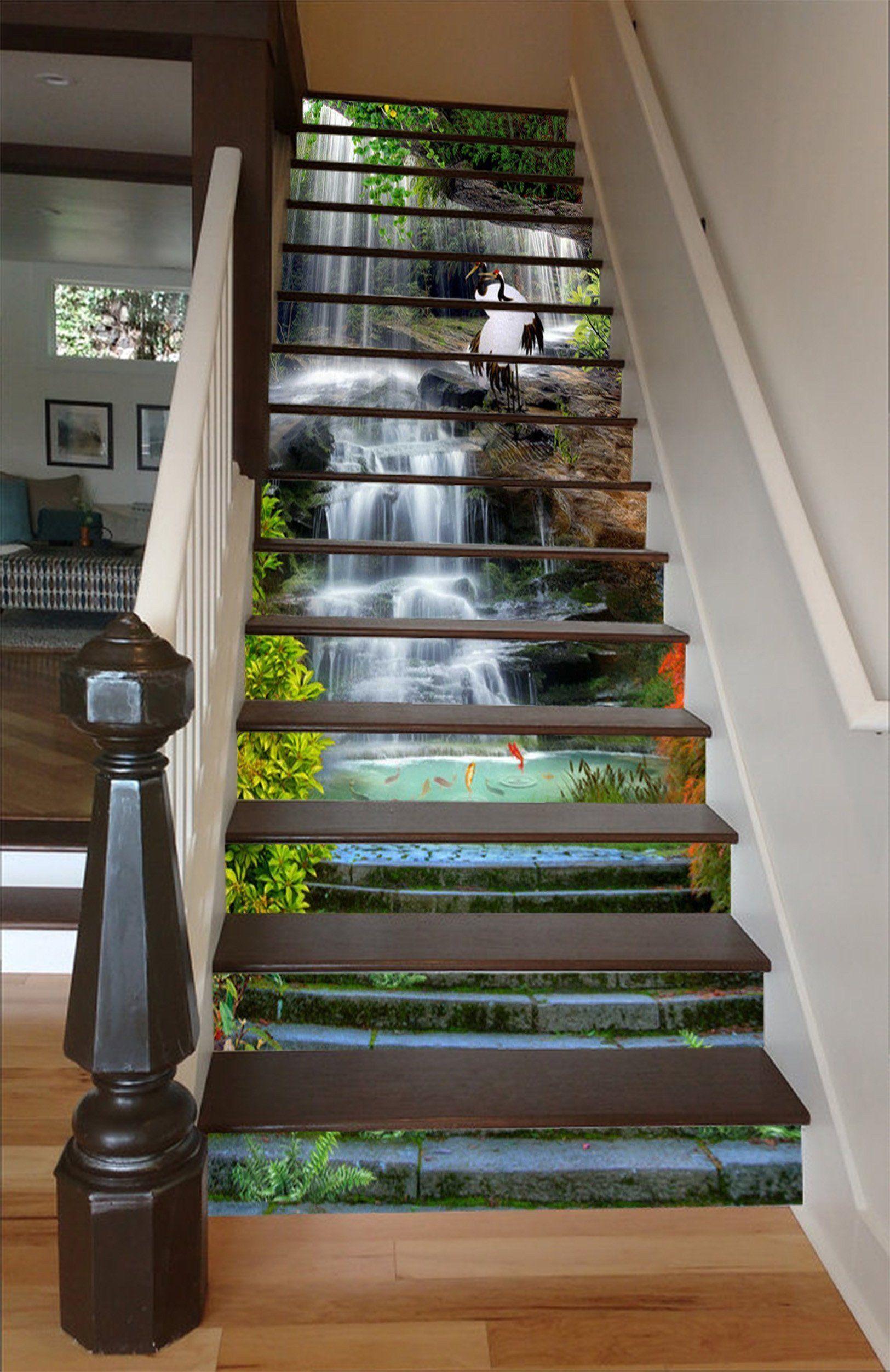 Best 3D Waterfall Lake Stairway 1618 Stair Risers Stairway 400 x 300