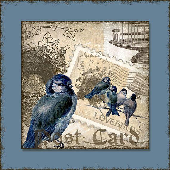 INSTANT DOWNLOAD Vintage Love Birds 1.5 por AudreyJeanneRoberts