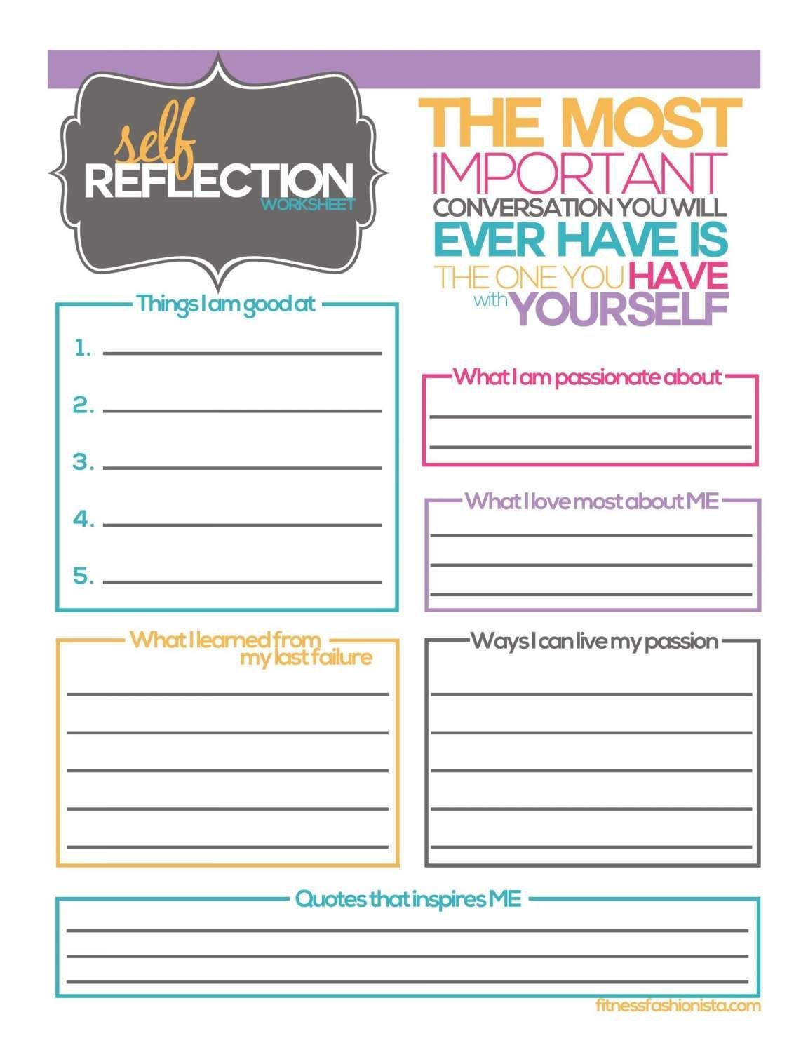 10 Reading Self Reflection Worksheet