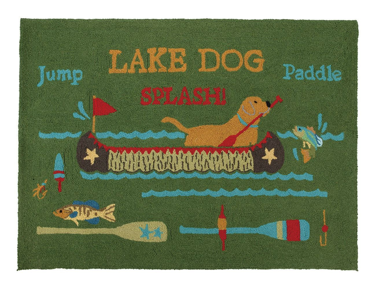 Dog In Lake With Paddle Hr