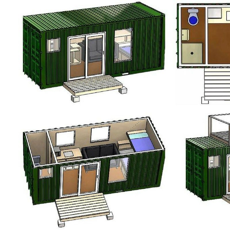 Simple Shipping Container Homes: A Simple 20-foot Shipping Container Is Transformed Into