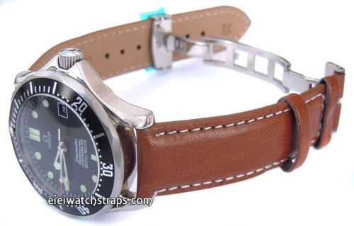 06e1b5376d2 Brown Leather Watch strap White Stitched butterfly deployant clasp For Omega  Seamaster professional