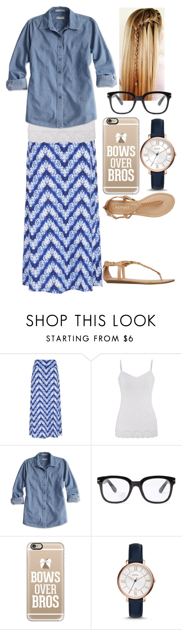"""Blue"" by jen1301 ❤ liked on Polyvore featuring maurices, Forever 21, Casetify, FOSSIL and Report"
