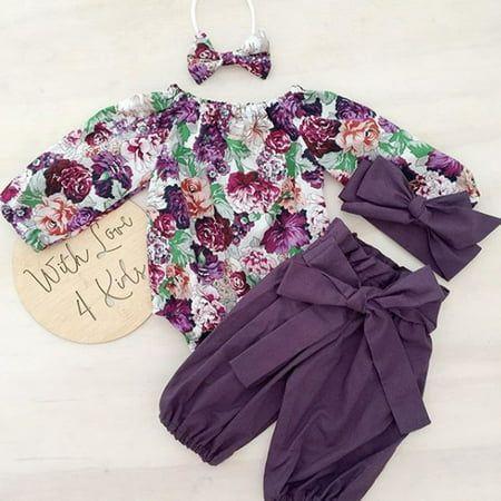 XIAXAIXU - 3PCS Newborn Baby Girls Tops Romper+Floral Pants Leggings Headband Outfits Set Clothes 0-24M - Walmart.com
