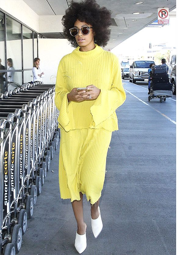 Solange Knowles in yellow knit outfit by Marques Almeida