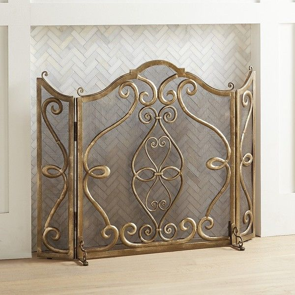 Pier 1 Imports Elmhurst Antique Fireplace Screen 153 Liked On Polyvore Featuring Home Home Decor Fireplace Screens Gold Fireplace Screen Brick Fireplace