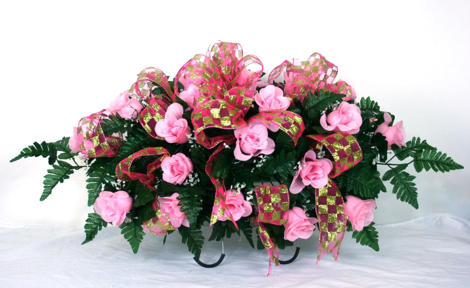 Beautiful Pink Roses Silk Flower Cemetery Tombstone Saddle With Deco