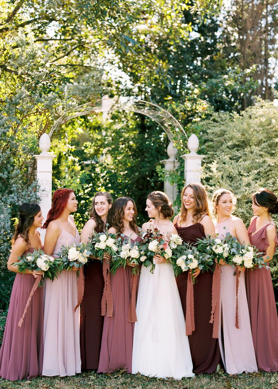 Jenny Yoo Bridesmaids Various Mix N Match Long Luxe Chiffon Styles In A Shades Of Blush Burgundy Bridesmaid Dresses Wedding Bridesmaids Bridesmaid Dresses