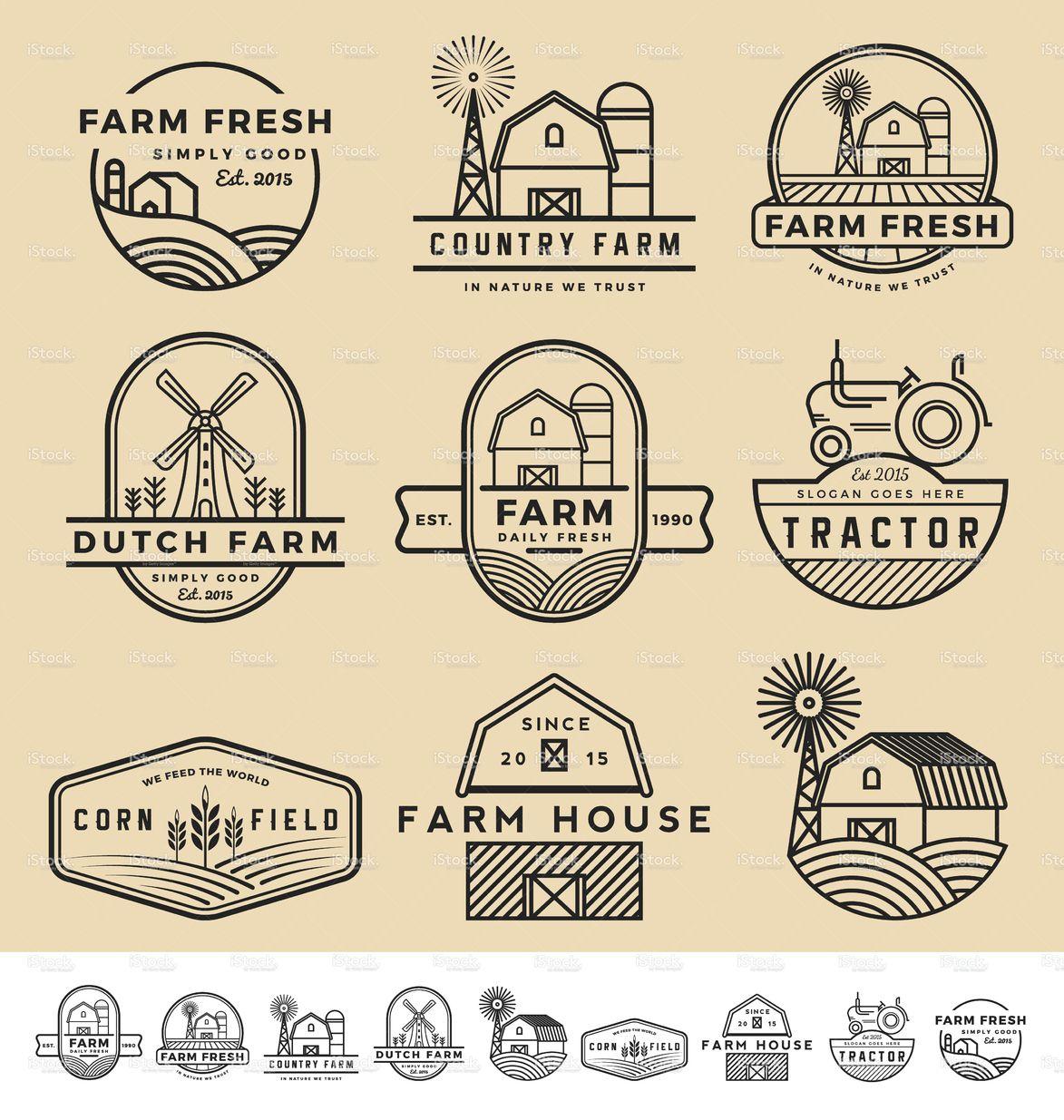 Set Of Vintage And Modern Farm Badge Logo And Labels