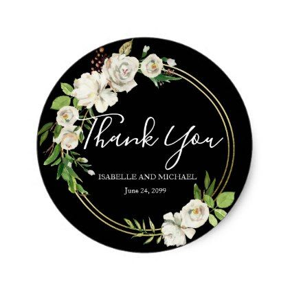 Black and white floral thank you wedding classic round sticker wedding stickers wedding and weddings