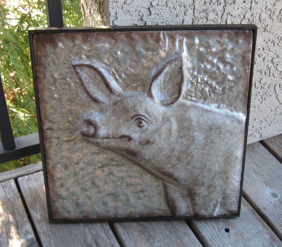 Embossed Galvanized Metal Pig Wall Art Primitive French Country Farmhouse Decor Naiveprimiti Pig Wall Art Primitive Decorating Country Country Farmhouse Decor