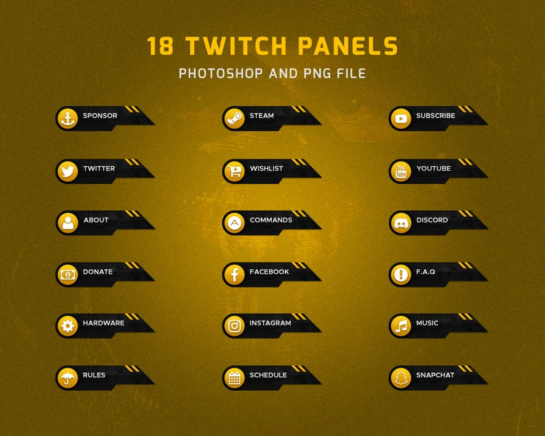 Twitch Panels Package Instagram music, Overlays, Packaging