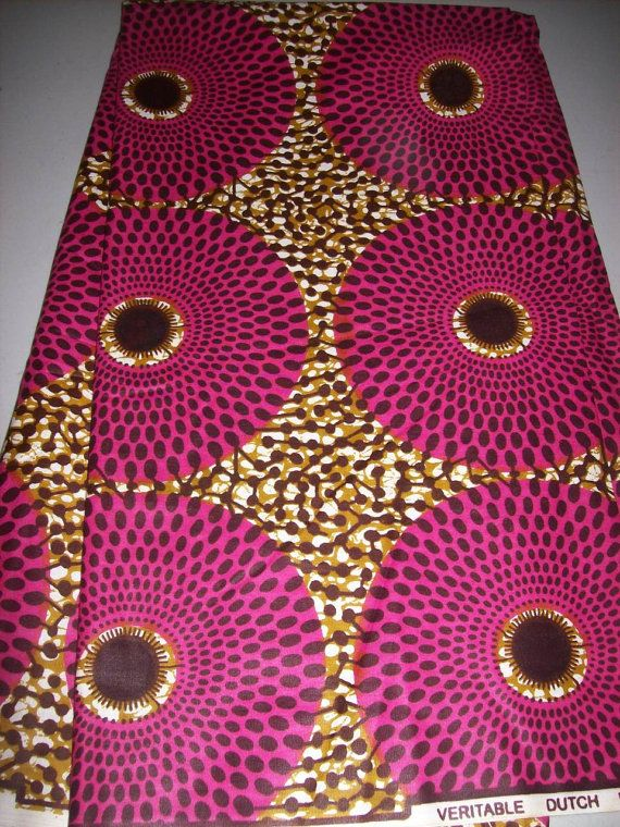Fuchsia optical illusion circles wax print African fabric per yard. 100% cotton, 44 inches wide. Designers choice hot fabric.    Vibrant African