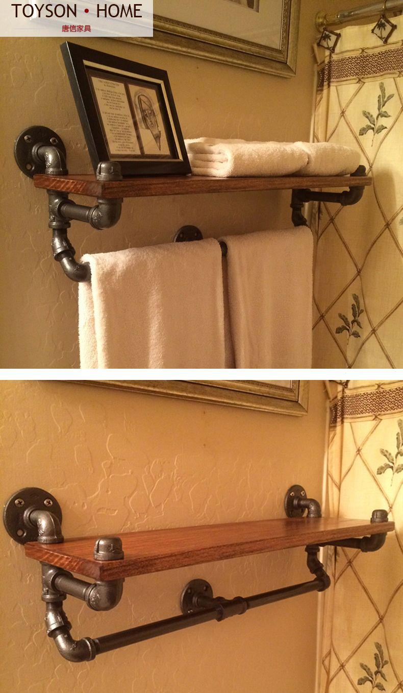 Industrial meubles en tuyau id e salle de bain tag re - Mobilier de salle de bain pas cher ...