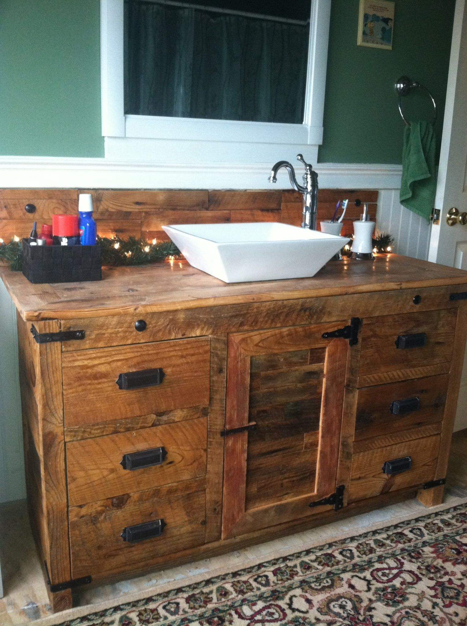 Barnwood vanity with vessel sink rustic vanities for Bathroom cabinet sink ideas