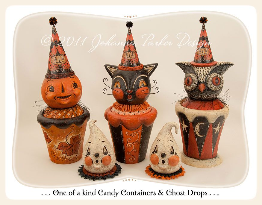 johanna parker design halloween folk art gallery paper mache vintage style halloween ornaments