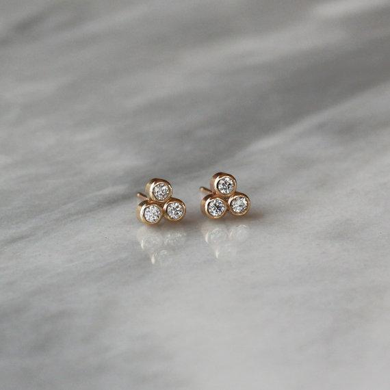 Diamond Stud Earrings Trinity Triangle By Clementine