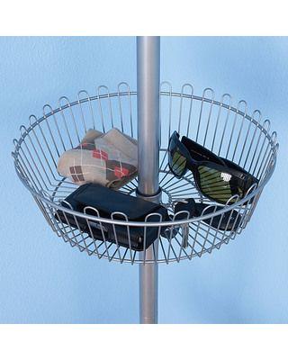 Household Essentials Floor to Ceiling Shoe Tree, 6 Carousels, 1 Basket