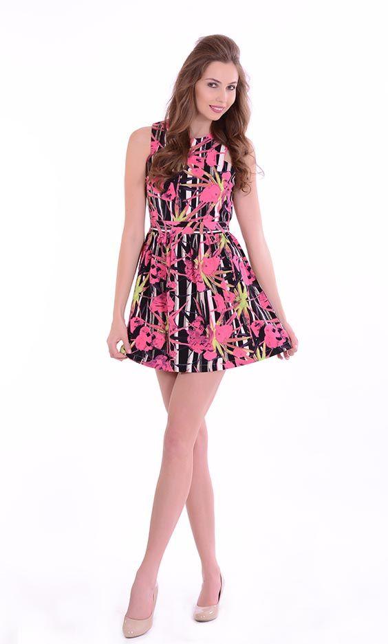 Women Floral short Dress. Available in Fushia & Green. | Women ...