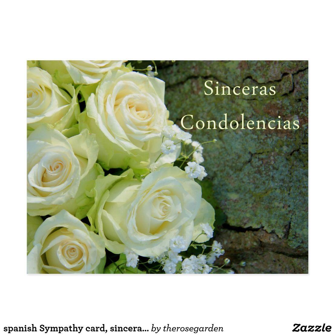 spanish Sympathy card, sinceras condolencias Postcard
