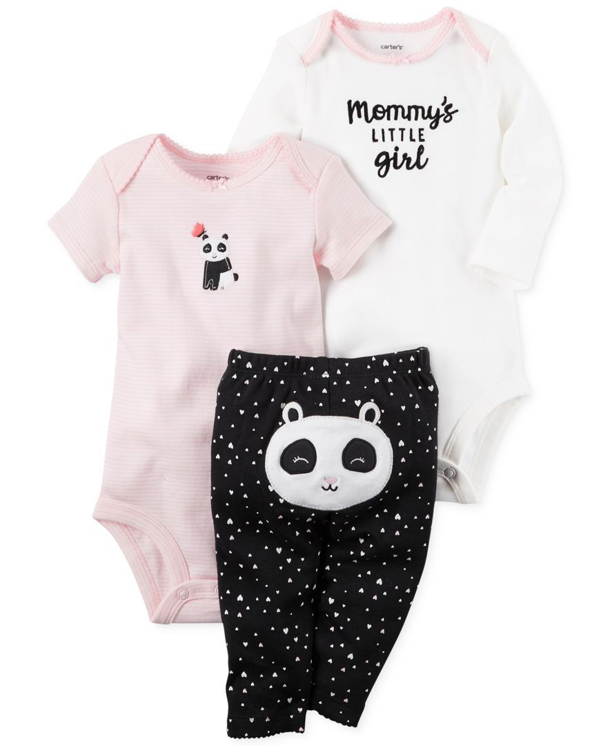 8d83ac476164 Carter s 3-Pc. Cotton Panda Bodysuits   Pants Set
