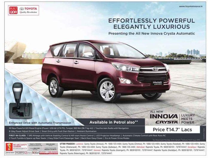 Toyota Innova Crysta Petrol Version Up For Sale Toyota Innova Toyota Petrol