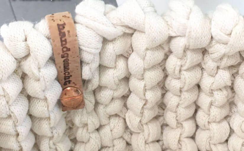 Strickkorb Aus Strickband Natur Stricken Mit Dicker Wolle